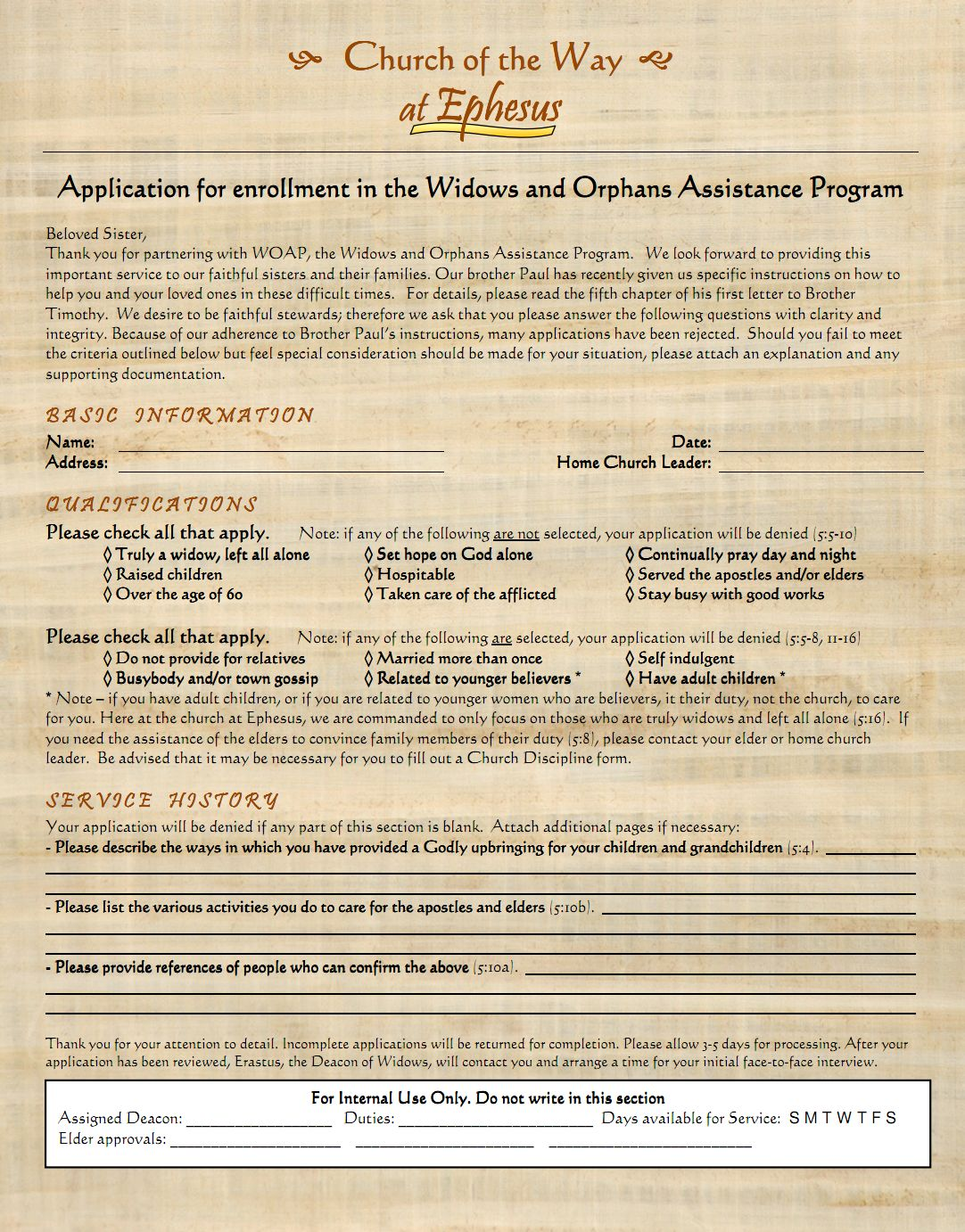 Widows & Orphans Application 2