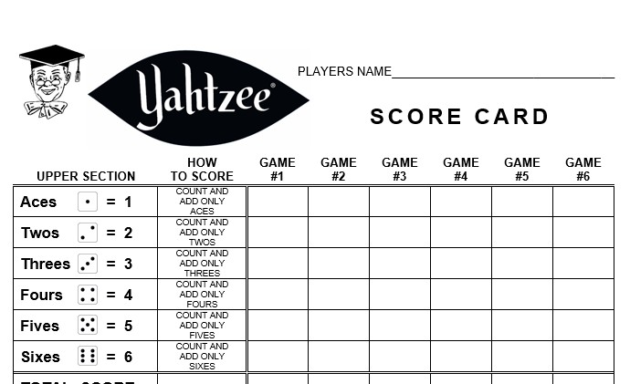 photograph regarding Printable Yahtzee Score Sheets 2 Per Page identify Yahtzee Rating Card » linear strategies